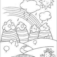 Dibujo para colorear : Llueve en Fresilandia