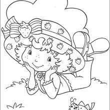 Dibujo para colorear : Tarta de Fresa con una mariquita