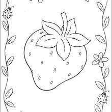 Fresa y mariquita para regalar - Dibujos para Colorear y Pintar - Dibujos para colorear PERSONAJES - PERSONAJES ANIME para colorear - Tarta de fresa para colorear