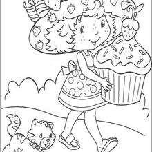 Dibujo para colorear : Tarta de Fresa, Cremita y el pastel