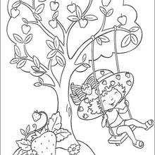 Dibujo para colorear : Tarta de Fresa sentada en el columpio