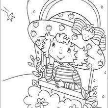 Tarta de Fresa mirando una estrella - Dibujos para Colorear y Pintar - Dibujos para colorear PERSONAJES - PERSONAJES ANIME para colorear - Tarta de fresa para colorear