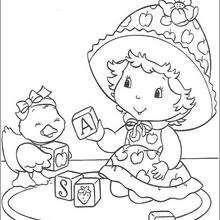 Compotita con Patito - Dibujos para Colorear y Pintar - Dibujos para colorear PERSONAJES - PERSONAJES ANIME para colorear - Tarta de fresa para colorear