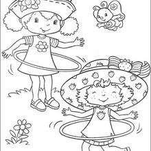 Dibujo para colorear : Tarta de Fresa con Flori Naranja