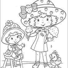 Tarta de Fresa y Compotita comiendo helados - Dibujos para Colorear y Pintar - Dibujos para colorear PERSONAJES - PERSONAJES ANIME para colorear - Tarta de fresa para colorear
