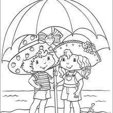 Tarta de Fresa y Ani Vainilla - Dibujos para Colorear y Pintar - Dibujos para colorear PERSONAJES - PERSONAJES ANIME para colorear - Tarta de fresa para colorear