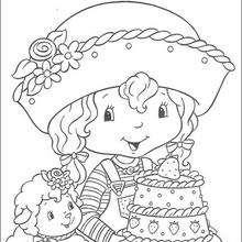 Dibujo para colorear : Tarta de Fresa con su pastel