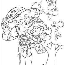 Compotita con Tarta de Fresa colectando manzanas - Dibujos para Colorear y Pintar - Dibujos para colorear PERSONAJES - PERSONAJES ANIME para colorear - Tarta de fresa para colorear