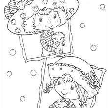 Tarta de Fresa y Ani Vainilla bebiendo licuados - Dibujos para Colorear y Pintar - Dibujos para colorear PERSONAJES - PERSONAJES ANIME para colorear - Tarta de fresa para colorear