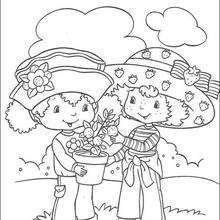 Tarta de Fresa y Flori Naranja colectando naranjas - Dibujos para Colorear y Pintar - Dibujos para colorear PERSONAJES - PERSONAJES ANIME para colorear - Tarta de fresa para colorear
