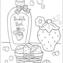 Dibujo para colorear : Burbujas de baño sabor Fresa