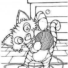 Gato con una pelota de lana - Dibujos para Colorear y Pintar - Dibujos para colorear ANIMALES - Dibujos GATOS para colorear - Dibujos para colorear GATITOS