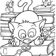 El gato con un ratón mecánico - Dibujos para Colorear y Pintar - Dibujos para colorear ANIMALES - Dibujos GATOS para colorear - Dibujos para colorear e imprimir GATOS