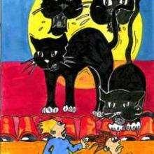 Gatos negros - Dibujar Dibujos - Dibujos para RECORTAR - HALLOWEEN  dibujos para recortar