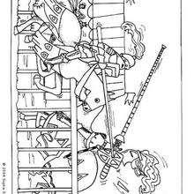 Dibujo de caballos al combate - Dibujos para Colorear y Pintar - Dibujos para colorear ANIMALES - Colorear CABALLOS - Dibujos de CABALLOS para colorear e imprimir