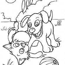 Dibujo para colorear : un perro cachorro