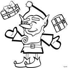Dibujo de un duende del Polo Norte para colorear - Dibujos para Colorear y Pintar - Dibujos para colorear FIESTAS - Dibujos para colorear de NAVIDAD - Dibujos ELFOS DE NAVIDAD para colorear