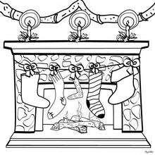 Calcetines en la chimenea de Navidad - Dibujos para Colorear y Pintar - Dibujos para colorear FIESTAS - Dibujos para colorear de NAVIDAD - CALCETIN NAVIDAD para colorear