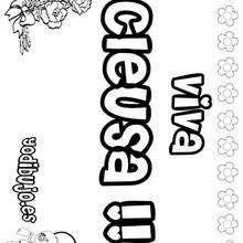 CLEUZA colorear nombres niñas - Dibujos para Colorear y Pintar - Dibujos para colorear NOMBRES - Dibujos para colorear NOMBRES NIÑAS