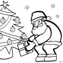 Dibujo para colorear : Árbol y Papá Noel