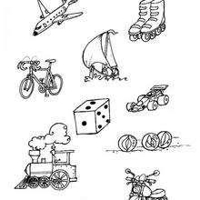 Colorea lo que rueda - Juegos divertidos - Juegos para IMPRIMIR - Juegos de PINTAR