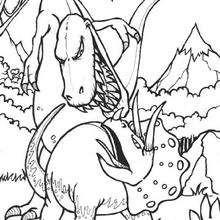 Dibujo triceratops y tiranosaurio - Dibujos para Colorear y Pintar - Dibujos para colorear ANIMALES - Dibujos para colorear DINOSAURIOS - Pintar dinosaurio TRICERATOPS
