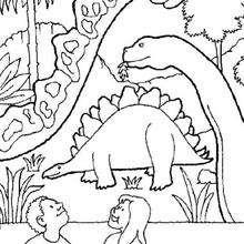 Dibujo estogosaurio y otros dinosaurios - Dibujos para Colorear y Pintar - Dibujos para colorear ANIMALES - Dibujos para colorear DINOSAURIOS - Colorear dinosaurio ESTEGOSAURIO