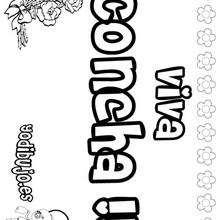 CONCHA colorear nombres niñas - Dibujos para Colorear y Pintar - Dibujos para colorear NOMBRES - Dibujos para colorear NOMBRES NIÑAS