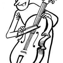 Contrabajo - Dibujos para Colorear y Pintar - Dibujos infantiles para colorear - Instrumentos de Música: dibujos para colorear