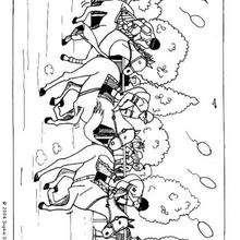 Dibujo de  una carrera de caballos para colorear - Dibujos para Colorear y Pintar - Dibujos para colorear DEPORTES - Dibujos de EQUITACION para colorear - Dibujos de CARRERAS DE CABALLOS para colorear