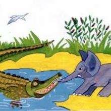 Ilustración : Cocodrilo y elefante