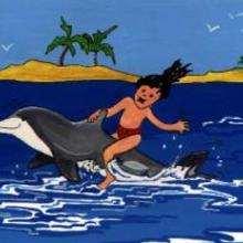 Ilustración : Delfín con niño