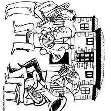 Casa de Cervantés y cuarteto de metales - Dibujos para Colorear y Pintar - Dibujos infantiles para colorear - Instrumentos de Música: dibujos para colorear