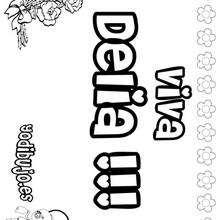 DELIA colorear nombres niñas - Dibujos para Colorear y Pintar - Dibujos para colorear NOMBRES - Dibujos para colorear NOMBRES NIÑAS