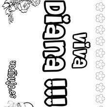 DIANA colorear nombres niñas - Dibujos para Colorear y Pintar - Dibujos para colorear NOMBRES - Dibujos para colorear NOMBRES NIÑAS