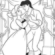 Dibujo para colorear : Ariel y Eric bailando