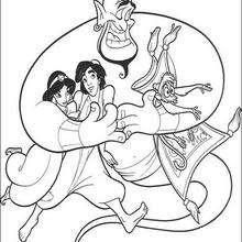 Dibujo para colorear : El Genio, Abú, Jasmín y Aladdin