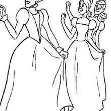 Dibujo para colorear : Lady Tremaine, Anastasia y Dricella