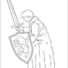 Dibujo para colorear : Peter con su espada