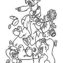 Dibujo para colorear : Trek, Tantor, Mungo y Flint