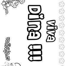 DINA colorear nombres niñas - Dibujos para Colorear y Pintar - Dibujos para colorear NOMBRES - Dibujos para colorear NOMBRES NIÑAS