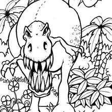 Dibujo tiranosaurio agresivo - Dibujos para Colorear y Pintar - Dibujos para colorear ANIMALES - Dibujos para colorear DINOSAURIOS - Colorear dinosaurio TIRANOSAURIO