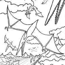 El vuelo de los dinosaurios - Dibujos para Colorear y Pintar - Dibujos para colorear ANIMALES - Dibujos para colorear DINOSAURIOS - Dibujos para colorear dinosaurio PTERODACTILO