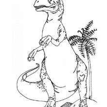 Dibujo tiranosaurio buscando comida - Dibujos para Colorear y Pintar - Dibujos para colorear ANIMALES - Dibujos para colorear DINOSAURIOS - Colorear dinosaurio TIRANOSAURIO