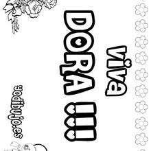DORA colorear nombres niñas - Dibujos para Colorear y Pintar - Dibujos para colorear NOMBRES - Dibujos para colorear NOMBRES NIÑAS