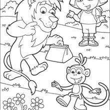 Dora, Botas y el león - Dibujos para Colorear y Pintar - Dibujos para colorear PERSONAJES - PERSONAJES TV para colorear - Dora y sus amigos para colorear