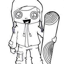 Luis hace snowboard - Dibujos para Colorear y Pintar - Dibujos para colorear DEPORTES - Dibujos de DEPORTES DE INVIERNO para colorear - Dibujos para colorear SNOWBOARD