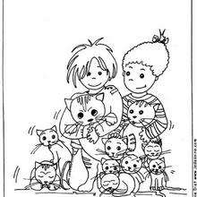 Niños entre gatos - Dibujos para Colorear y Pintar - Dibujos para colorear ANIMALES - Dibujos GATOS para colorear - Dibujos para colorear e imprimir GATOS