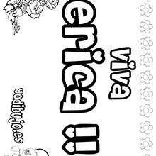 ERICA colorear nombres niñas - Dibujos para Colorear y Pintar - Dibujos para colorear NOMBRES - Dibujos para colorear NOMBRES NIÑAS