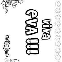 EVA colorear nombres niñas - Dibujos para Colorear y Pintar - Dibujos para colorear NOMBRES - Dibujos para colorear NOMBRES NIÑAS